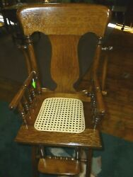Antique High Chair Oak Folding Cane Seat Refinished 1900and039s With Tray Cast Iron