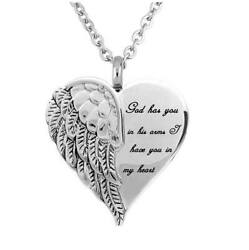 Stainless Steel Angel Heart Wings Ashes Keepsake Cremation Memorial Urn Necklace