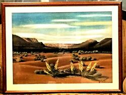 Pastel On Paper H/painted Painting Landscap By Californian Artist R.shermee 1956