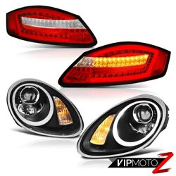 05-08 Porsche Boxster Wine Red Tail Lamp Inky Black Halogen Headlights Assembly