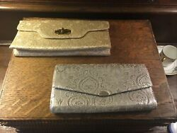 VtG CLUTCH PURSES LOT of 2 One SILVER One GOLD $18.00