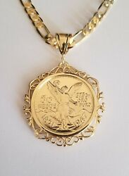 Gold Plated Coin 50 Pesos- Centenario Pendant With Plated 24andrdquo Figaro Chain
