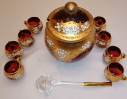 Bohemia Crystal Ruby Gold Enamel Glass Punch Bowl With 8 Cups