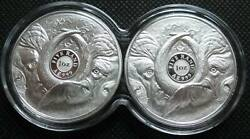 South Africa R5 2021 Silver Proof 1oz Two Coin Big5 Series Buffalo Box And Coa
