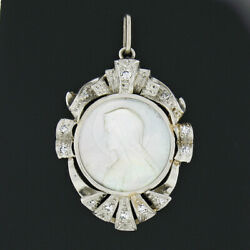 Antique Platinum Carved Mother Of Pearl Virgin Mary 0.25ct Diamond Frame Pendant