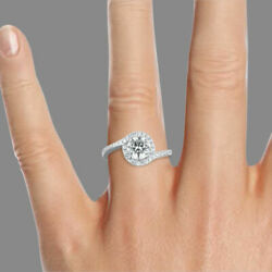 1 1/4 Ct New Natural Diamond Engagement Ring Round Cut F/si1 18k White Gold
