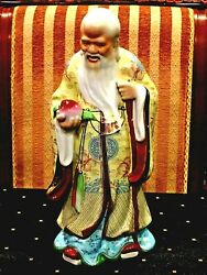 Antique Chinese Porcelain Statue Figurine Of Shouxing The Gad Of Longevity 12.8