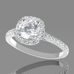 D/si1 Round Cut Natural Diamond Engagement Ring 1.40 Ct 18k White Gold Sparkling