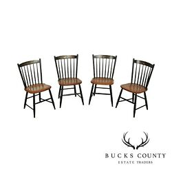 Hitchcock Set 4 Black Stenciled, Maple Windsor Dining Chairs