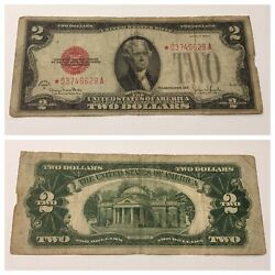 Vintage 2 Star 1928-g United States Note Red Seal Jefferson Two Dollar Bill Usn