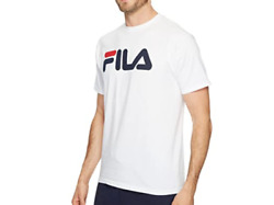 Fila T Shirt Mens New Linear Logo Short Sleeve Graphic Tee Small To Large White