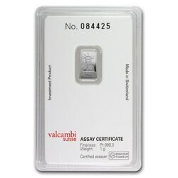 1 Gram 999.5 Fine Platinum Bar Liberty Credit Suisse In Assay