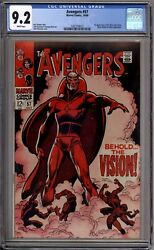 Avengers 57 Cgc Graded 9.2 Nm- White Pages 1st Vision Marvel Comics 1968