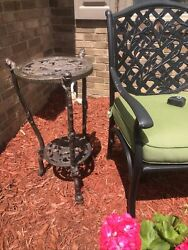 Antique Victorian 29 Tall Cast Iron Shelf Plant Stand Side Table Dark