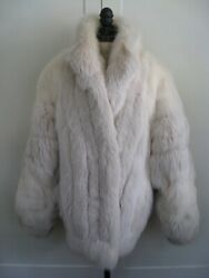Real Blush And Arctic Fox Fur Coat, Big Luxurious Batwing Sleeves Xxl