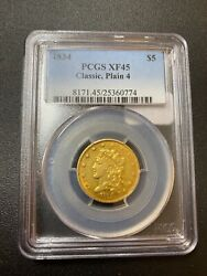 1834 Classic Head Five Dollar Gold Pcgs Xf-45 - Great Coin - Certified Slab - 5