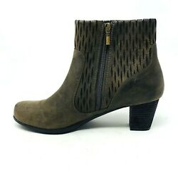 Aetrex Womens Leather Boots Brown Stacked Heel Sz 42 10.5 11 Textured