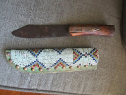 Fine Antique 1870 Era Teton Sioux Indian Fighting Knife And Beaded Leather Sheath