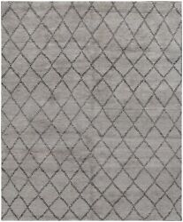 Restoration Hardware Double Diamond Gray Moroccan Hand Knotted Wool Rug 8 X 10
