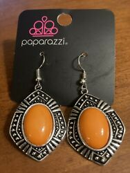 paparazzi silver and orange earrings $6.50