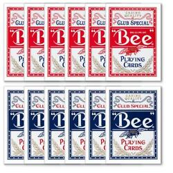Bee 12 Pc Bulk Lot Wholesale Red/blue Diamond Backs Playing Cards Standard Index