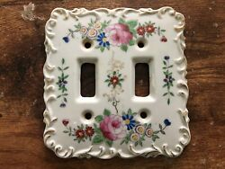 Vintage Betson Porcelain Light Switch Cover Hand Painted Flowers Floral Ornate 1