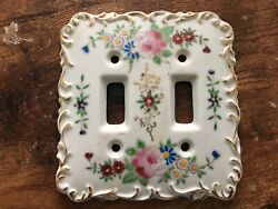 Vintage Betson Porcelain Light Switch Cover Hand Painted Flowers Floral Ornate 2