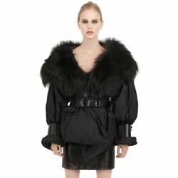 Tom Ford 6,830 Fox Fur Collar Leather Corset Belted Down Silk Puffer Jacket 40