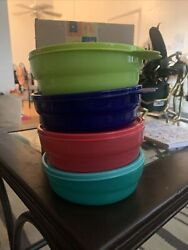 Tupperware Impressions Microwave Safe Cereal Bowls And Seals Set Of 4 Brand New
