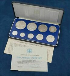 1976 Jamaica 9 Coin Proof Set With Coa - Free Shipping Usa