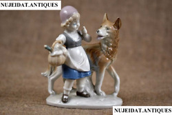 Vintage,porcelain Figurine,red Riding Hood And Wolf,grafenthal Marked,germany 1970