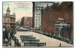Inspection Of Police Officers Cops Clinton Square Syracuse Ny Vintage Postcard 2