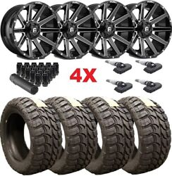 Fuel Contra Gloss Black Wheels Rims 33 12.50 18 Mt Tires Tundra Ram Sequoia Xd