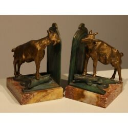 Vintage 20th Original France Pair Figurine Goats Bookends Ferrand Marked