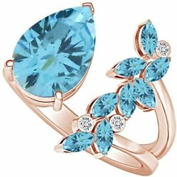 Pear Cut Simulated Aquamarine Adjustable Open Petal Cocktail Ring 14k Gold Over