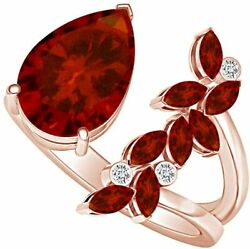 Pear Cut Simulated Garnet Adjustable Open Petal Cocktail Ring In 14k Gold Over