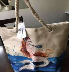 Large Tote Bag Beach For women Luggage Traveling Shoulder Bags Hand Oil Painting $19.99