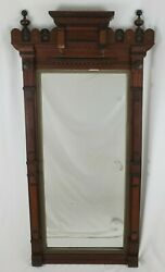Antique Eastlake Hall Pier Mirror Victorian Carved Walnut 1900and039s 54 3/4 Tall