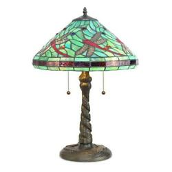 Style Table Lamp Blue-green Red Black Stained Glass Dragonfly 23 High