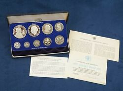 1977 Jamaica 9 Coin Proof Set - Free Shipping Usa