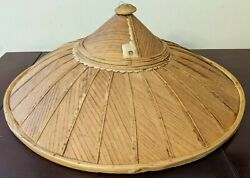 Antique Chinese Woven Coolie Asian Sun Rice Patty Bamboo Straw Conical Hat