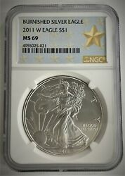 2011 W 1 Ngc Ms69 Burnished Silver American Eagle Silver Star Label ⭐021⭐ V2⭐