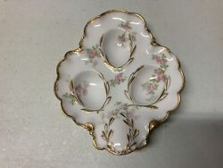 Antique H And C Haviland Limoges Small Deviled Egg Plate Flowers W/gold Trim- Chip
