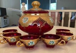 Vintage Murano Venetian 24k Gold Leaf Ruby Glass Punch Bowl Set With 6 Cups