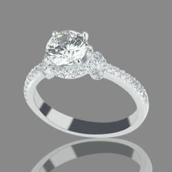 F/si1 Round Cut Natural Diamond Engagement Ring 0.95 Ct 18k White Gold Jewelry