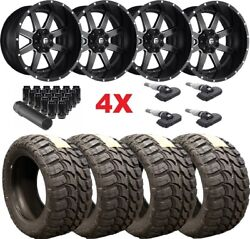 Black Milled Fuel Maverick Wheels Rims Tires 33 12.50 22 2500 3500 Hd
