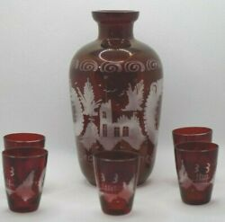 Egermann Bohemian Ruby Red Etched Glass Decanter W/ 5 Shot Glasses