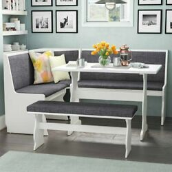 New Gray And White Top Breakfast Nook Dining Set Corner Booth Bench Kitchen Table