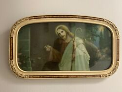 Antique Religious Print Jesus Knocking At The Door-free Shipping