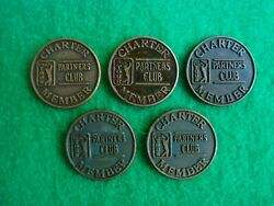 Lot Of 5 Pga Tour Partners Club Charter Member Golf Ball Marker 20mm Coins Used
